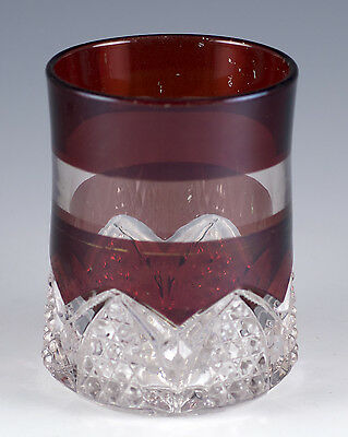 Antique EAPG Glass Ruby Flash Stained Tumbler With Button & Arches