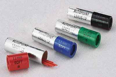 AUTOPOINT PENCIL LEAD REFILL 1.1mm 12 LEADS PER TUBE GREEN, BLUE & RED