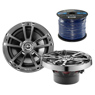 "Infinity 6.5"" 225W 2-Way Coaxial Marine Speakers, Enrock 50 Feet Of Speaker Wire"