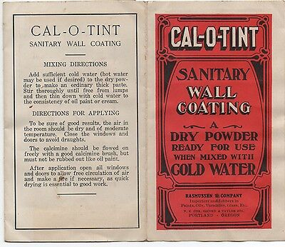 1920s Advertising Brochure w/ Paint Samples for Cal O Tint Wall Coating Portland