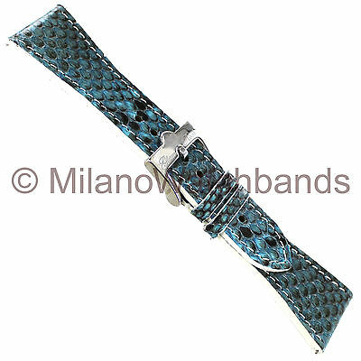 26mm Glam Rock High Quality Hand Made Genuine Python Blue Straight Watch Band
