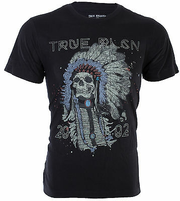TRUE RELIGION Mens T-Shirt 4TH AVE HEADDRESS Chief Indian Skull $79 Jeans NWT