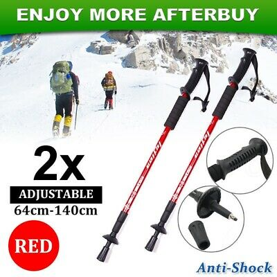 NEW 2x Trekking Hiking Poles Walking Stick Anti Shock Adjustable Camping Red
