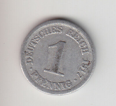 Germany Empire Kaiserreich 1 Pfennig (Al) 1917 D S-SS