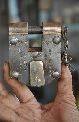 1940's Old Brass & Iron Handcrafted Unique Shape 8 Levers Solid Heavy Padlock