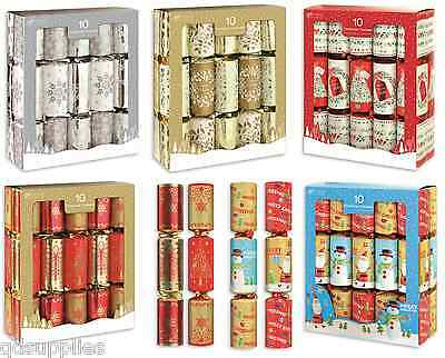 Traditional Christmas Crackers Set Box of 10 x 28cm Gift Joke Hat & Snappers