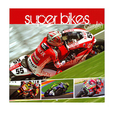 Large 2017 Super Bikes Square Monthly Wall Hanging Calendar Year Planner