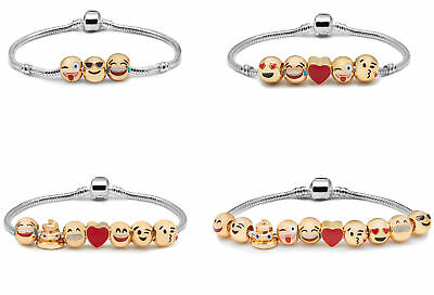 Ladies 3D Emoji Fun Face Charms Bracelet Funny 18K Gold Plated Gift Bag Luxury