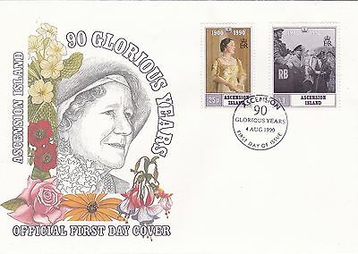 1990 ASCENSION IS Queen Mothers 90th BIRTHDAY OMNIBUS Issue Stamps FDC Ref:A374