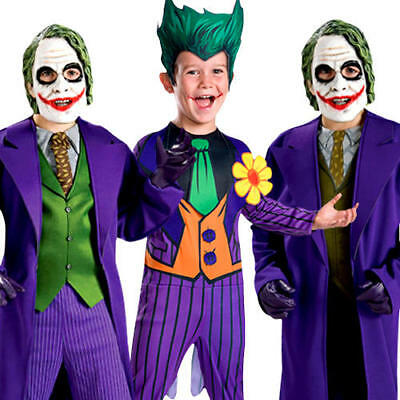 Batman Joker Boys Halloween Fancy Dress Kids Childrens Childs Villian Costume