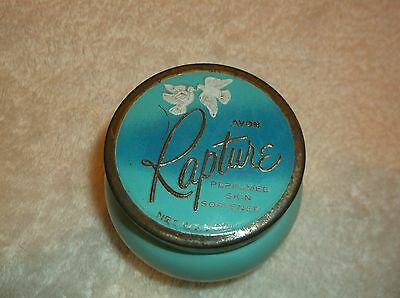 nef. Vintage Avon Rapture Perfumed Skin Softener Jar Empty 2 1/2 Inches Tall