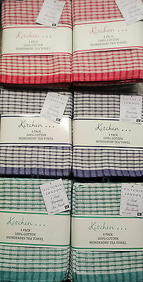 8 x PACK OF 100% COTTON WONDERDRY DISH T TOWELS 50x70cms IN BLUE GREEN OR RED