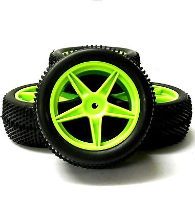 A66007/027 1/10 Off Road Front Rear Buggy RC Wheels Pin Tyres 5 Spoke Green x 4