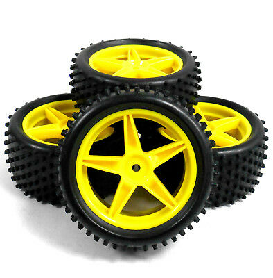 A66008/028 1/10 Off Road Front Rear Buggy RC Wheels Pin Tyres 5 Spoke Yellow x 4