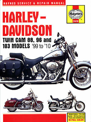 Softail Harley Davidson Dyna Glide Electra Glide 99-10 Manuale Haynes 2478 NUOVO