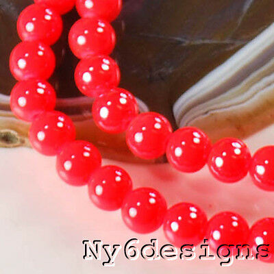 "8x8mm Cherry-Red Porcelain Round Beads 15"" (PO90)a"