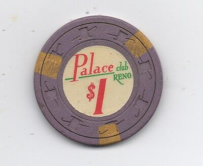 Old One Dollar Poker Chip from the Palace Club Reno Nevada