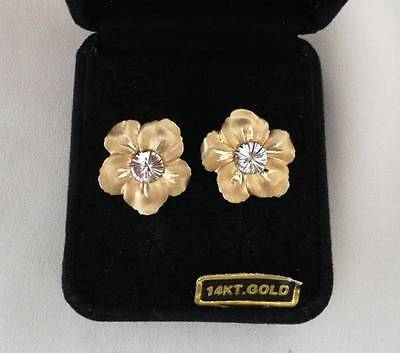 NIB 14k Yellow White Gold Flower Earrings Stud Post ZRW Italy Satin Finish