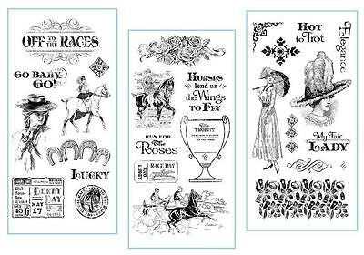 Graphic 45 OFF to THE RACES 27-pc Cling Stamp 1-2-3 Horse Show Derby Mixed Media