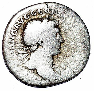 AUTHENTIC TRAJAN ROMAN COIN, AR Silver Denarius, Rv. Trophy - C329