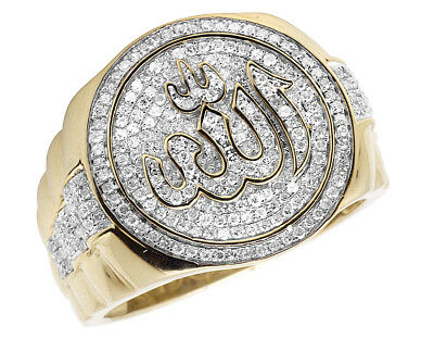 Men's 10K Yellow Gold Islamic Allah Real Diamond Pinky Presidential Ring 1.0ct