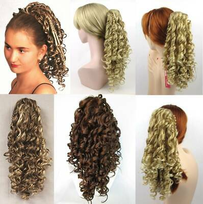"""18"""" Long Spiral Corkscrew Curls Curly Hair Hairdo Hairpiece Ponytail Claw Clip"""
