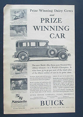 1930 Vintage Ad Buick Marquette Automobile Prizing Winning Car / Dairy Cows(F1)