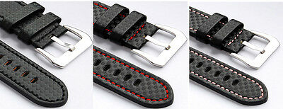 Techno Fiber Echt Leder Uhrenarmband  Carbon Effect  20 mm 22mm 24mm watch strap