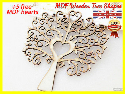 MDF Tree Shape Wooden Cut Family Tree Guestbook Crafting Card Love Wedding Deco