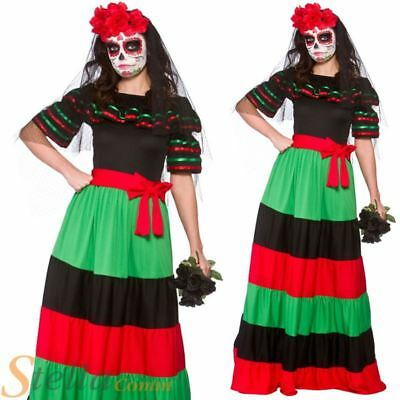 Ladies Day Of The Dead Costume Mexican Senorita Halloween Fancy Dress