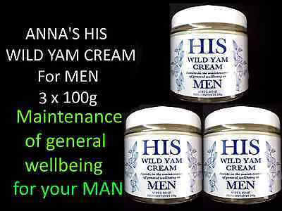 3 x 100g ANNA'S HIS WILD YAM CREAM for MEN ( ANNAS General Well Being )