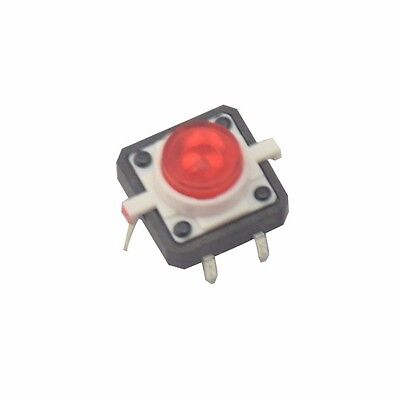 5PCS Red LED Tactile Button Push Switch Momentary Tact With LED 4pin Round Cap