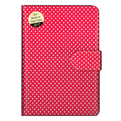 A5 Padded Retro Red & White Polka Dot Week to View (On 2 Pages) Diary 2017