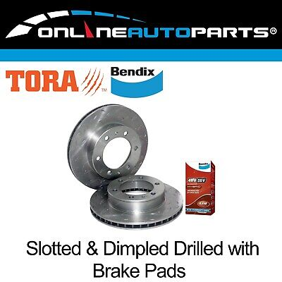 2 Front Slotted Disc Rotor suits Hilux 4x4 KUN25 KUN26 GGN25 Bendix Brake Pads