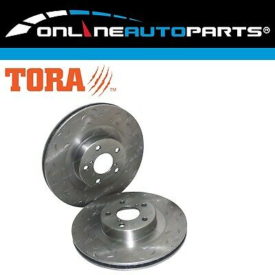 Front Drilled + Slotted Disc Brake Rotors fits Subaru Forester SG SH 2002-2010