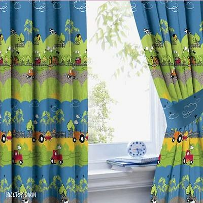 "Hilltop Farm Fully Lined Curtains - 66"" X 72"" - Childrens Bedroom New Free P+P"