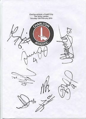 Two A4 white cards with Charlton Athletic Badge. Signed by 17 players 13.02.16.