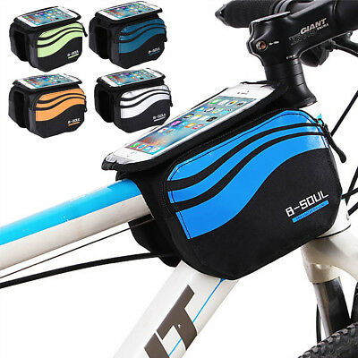 """Cycling Touch Case Front Frame Bag Bicycle Tube Pannier Pouch For 5.7"""" Phone"""