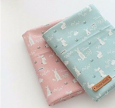 Candy floss rabbit 100% Cotton Fabric rabbits Quilting fabric (ffB204)>