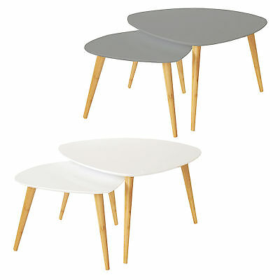 Charles Bentley Nest of 2 Retro Nesting Coffee Tables - White or Grey Available