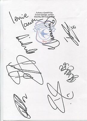 Two A4 white cards with the Cardiff City Badge. Signed by 19 players on 20.08.16