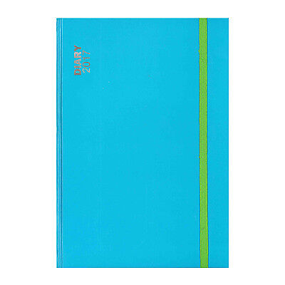 A5 Blue With Green Band Hardback Week to View (On 2 Pages) Diary 2017 - 1828