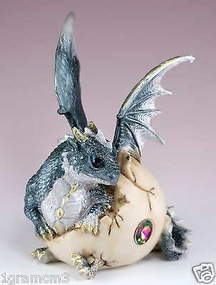 "Gray Baby Dragon Hatching From Egg Figurine Hatchling 5.75"" Detailed Resin NIB"