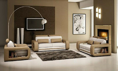 sofa garnitur amsterdam braun kunstleder couch garnitur 3 2 1 eur picclick de. Black Bedroom Furniture Sets. Home Design Ideas