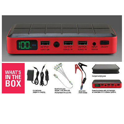 New Lithium Ion Booster Box Battery Jump Starter Iphone Charger 400 Amp Usb