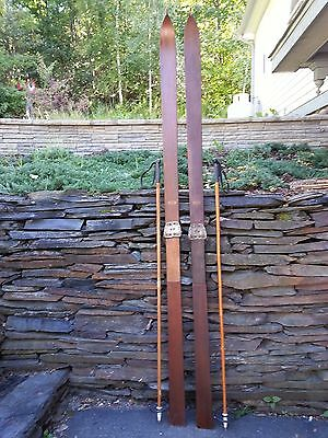 """VINTAGE Wooden 89"""" Skis Has Metal Bindings Signed LUND with Bamboo Ski Poles"""
