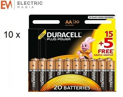 200x Duracell MN1500 Plus Power AA Double A Size Remote Battery Batteries