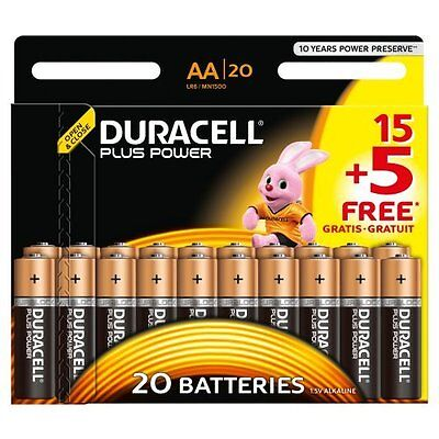 20x Duracell MN1500 Plus Power AA Double A Size Remote Battery Batteries