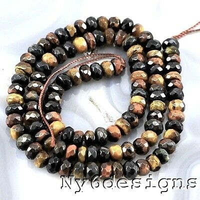 "6x4mm Natural Tigereye Faceted Rondelle Beads 15"" (TE86)a FREE SHIPPING"