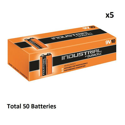 50 x 9V Duracell Industrial MN1604 E-Block Alkaline Batteries for Electronics